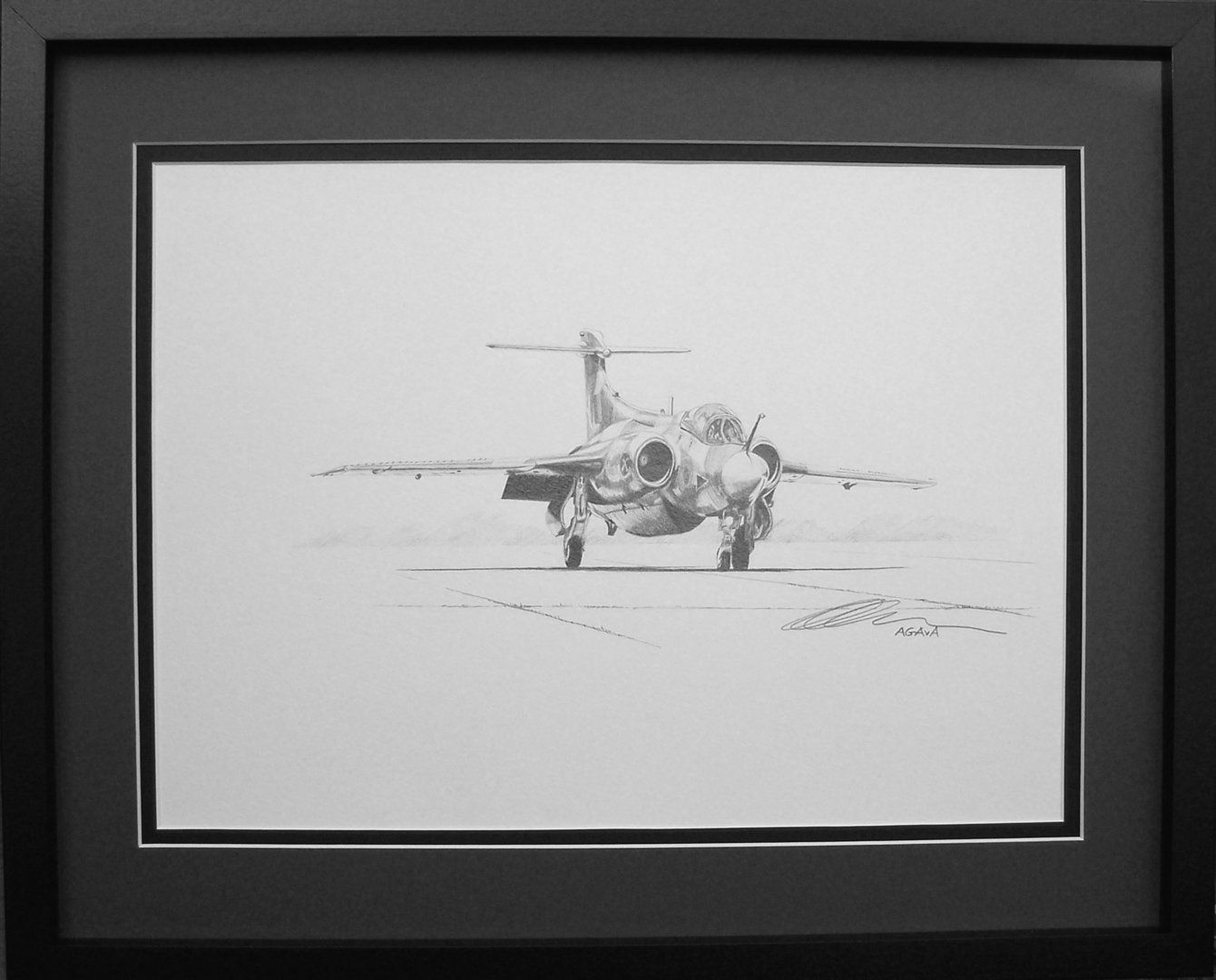 Original pencil drawing cold war jets bucaneer